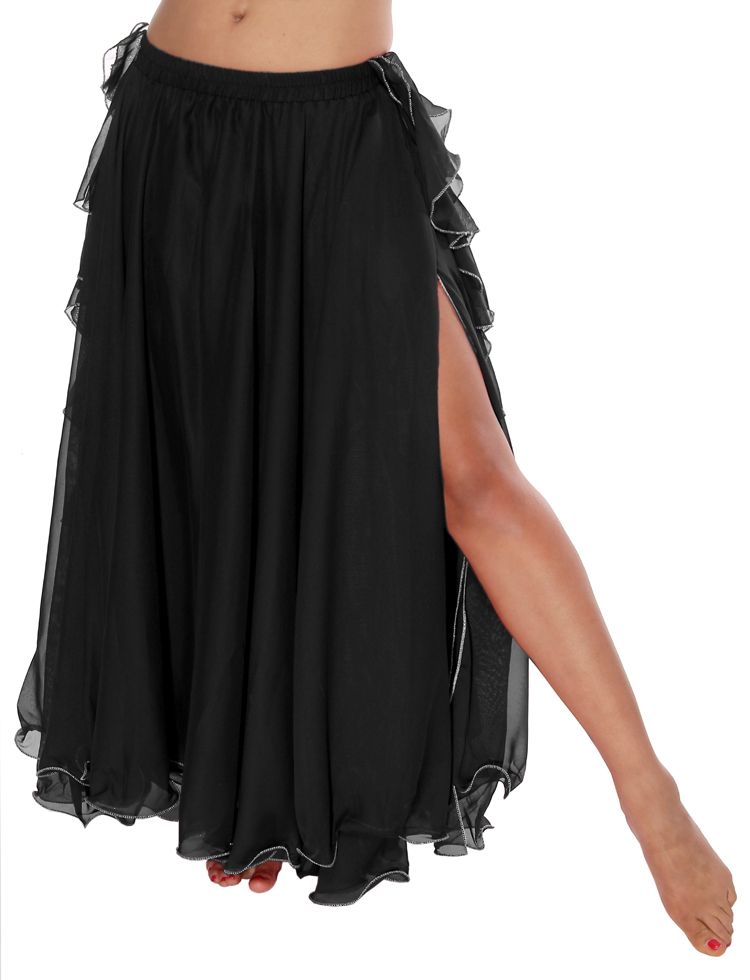 71a430d22e 2-Layer Chiffon Belly Dance Skirt with Ruffle Fringe - BLACK ...