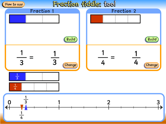 Fraction bars with corresponding fractions and a comparative