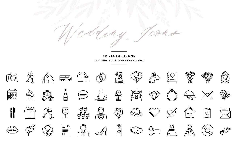 Wedding Icons Wedding Symbols In Vector Format Wedding Invitation Graphics Eps Illustrator Template Instant Download Wedding Icon Wedding Symbols Wedding Invitation Templates