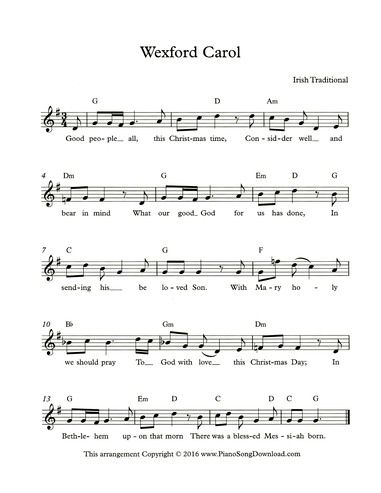 Wexford Carol Free Lead Sheet Of This Beautiful Irish Traditional