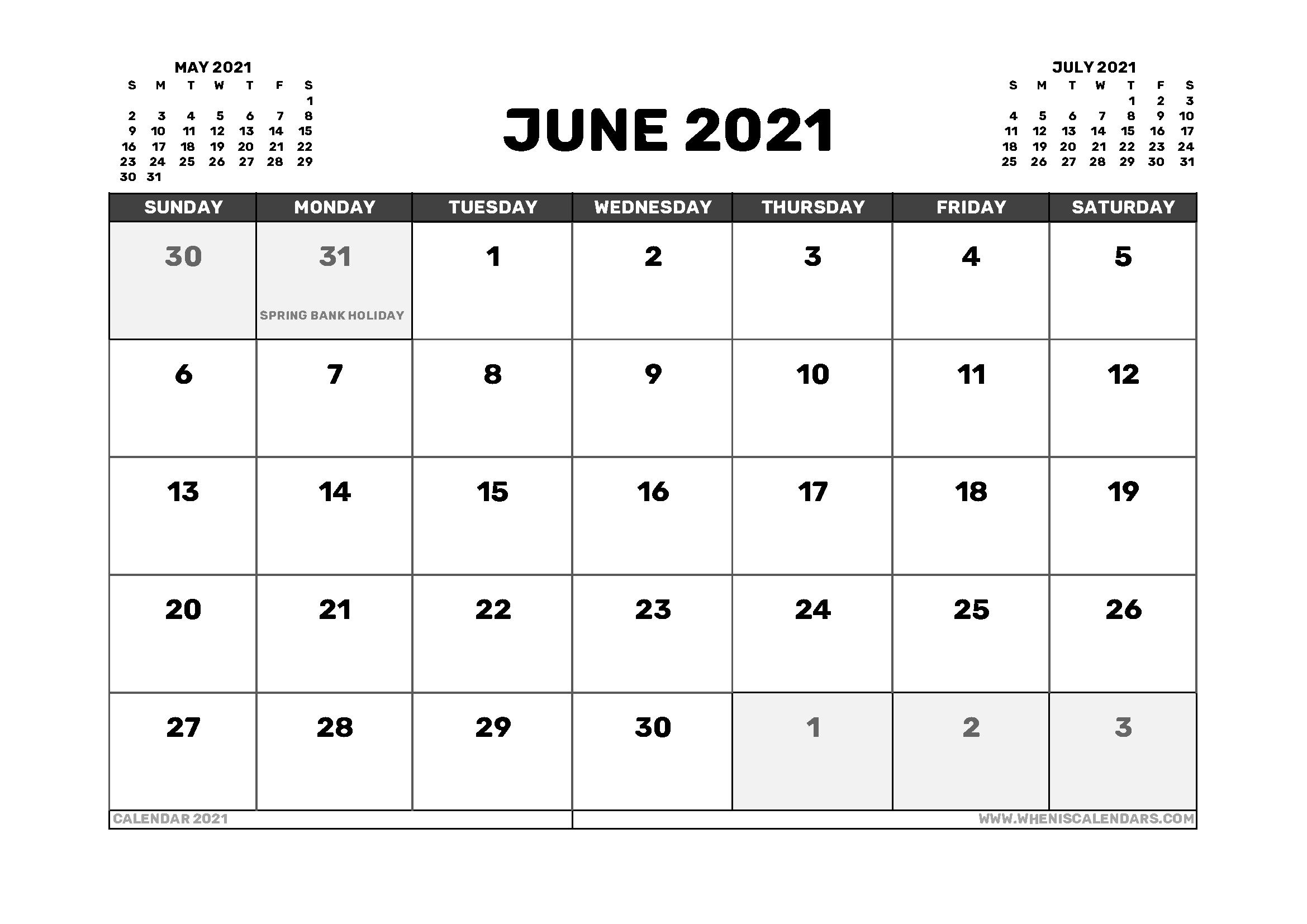 June 2021 Calendar Pinterest