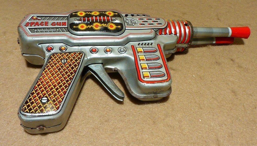 "Vintage ''Space Gun"" Tin Litho Japan Double Barrel Space Pistol Toy Horikawa | eBay"