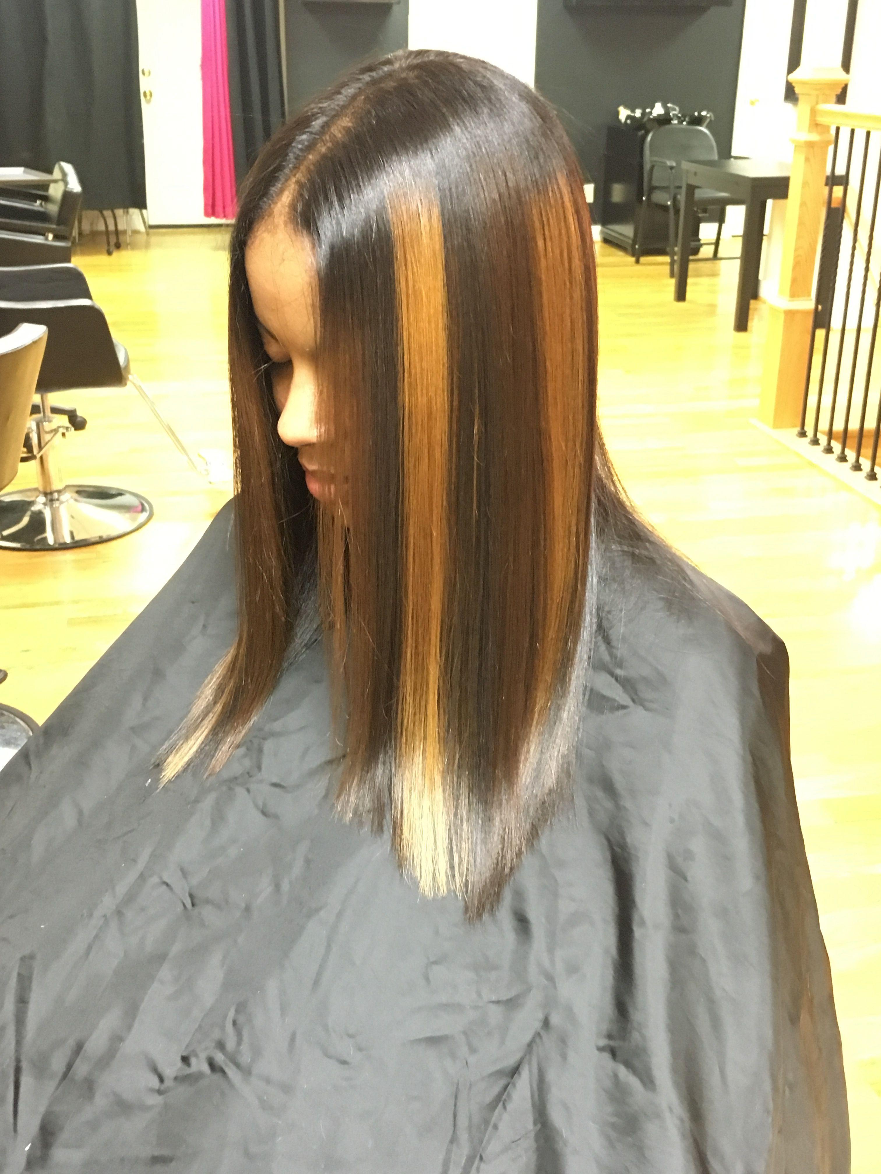 Natural Hair Silk Press With Custom Color Blonde Brown