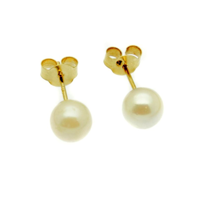 Pearl Earrings - 5mm Round White Cultured Saltwater Pearls - 9ct Gold Stud / Studs