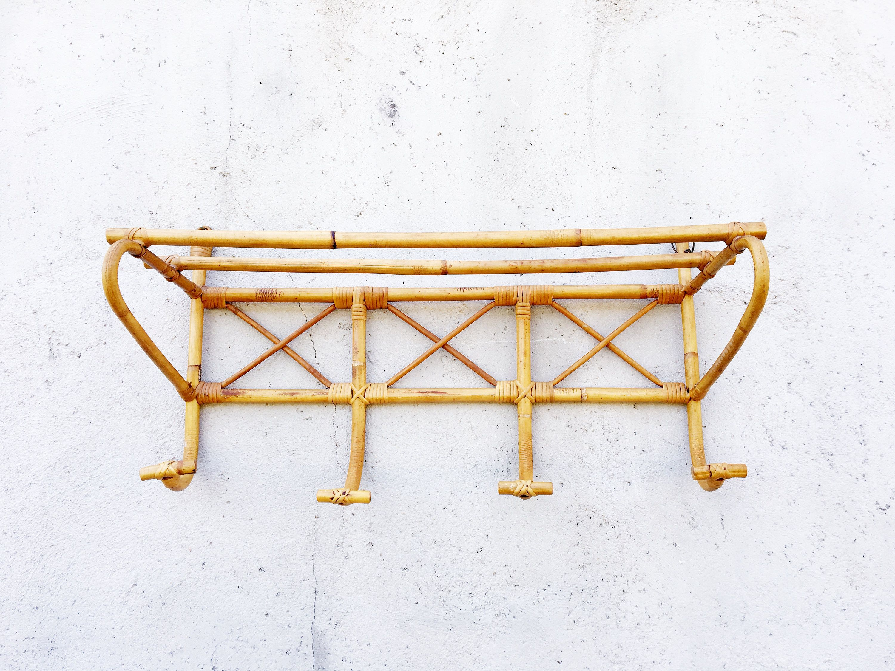 Vintage French Rattan Coat Rack With 4 Hooks And Shelf,
