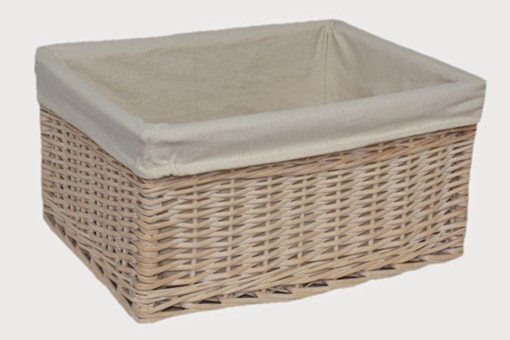 Large White Lined Storage Basket