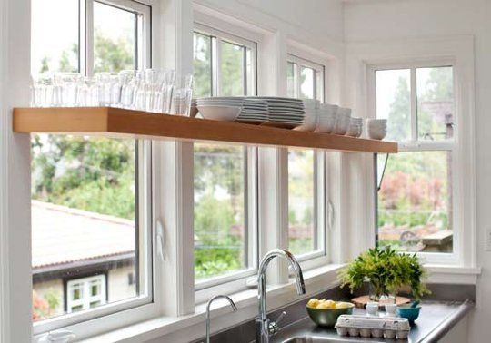 Kitchen Design Idea Open Shelving In Front Of Windows Apartment Therapy