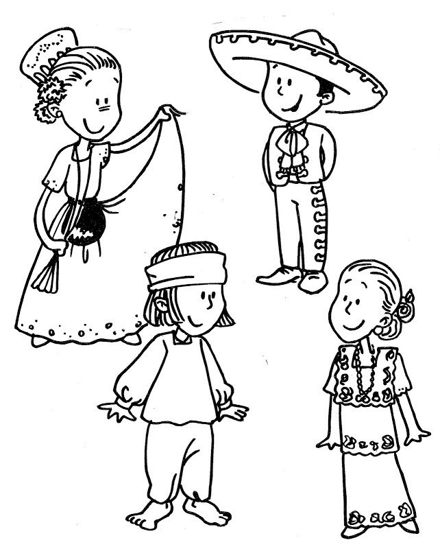 Mexican Traditional Dress Coloring Pages
