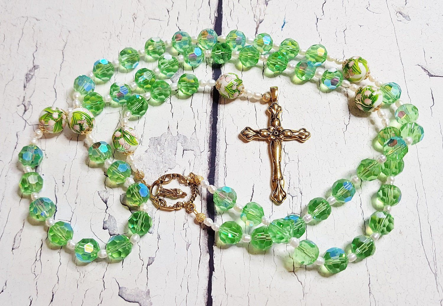 Easter Lily of the Valley Handmade Rosary Catholic