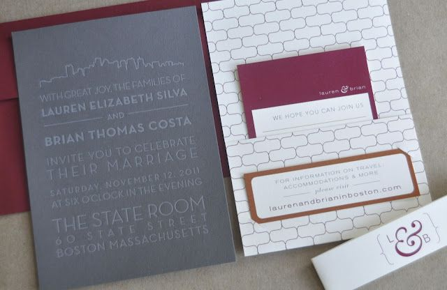 Boston Themed Wedding Invitation