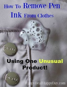 How to Remove Pen Ink From Clothes - Using One Unusual Product!  I totally would never have guessed that this would actually work to remove pen ink from clothes!