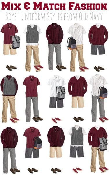876ff1d0c5 Looking for a way to create a school uniform wardrobe on a budget? Check  out this mix and match fashion board for Boys' School Uniforms from Old  Navy!