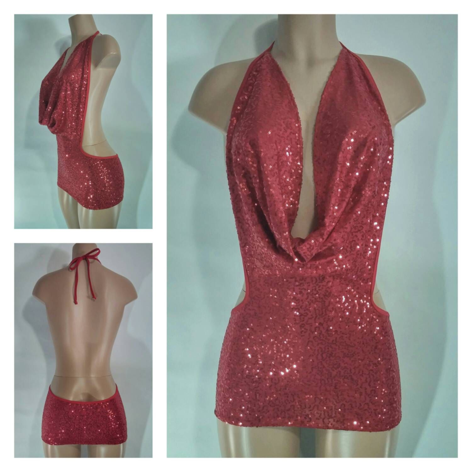 Sequin Cowl Front Mini Dress with Plunging Back for Strippers and ...