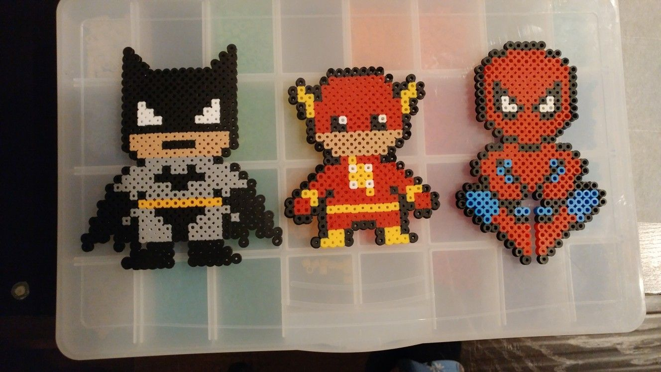 Hama Beads Spiderman: Batman, Flash And Spiderman Perler Bead Designs
