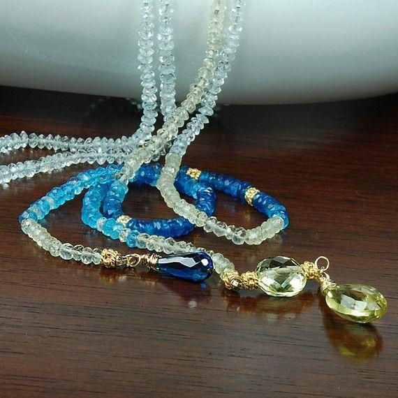 RISERVATO per AMY Aquamarine Lariat. Collana lunga blu di agusha