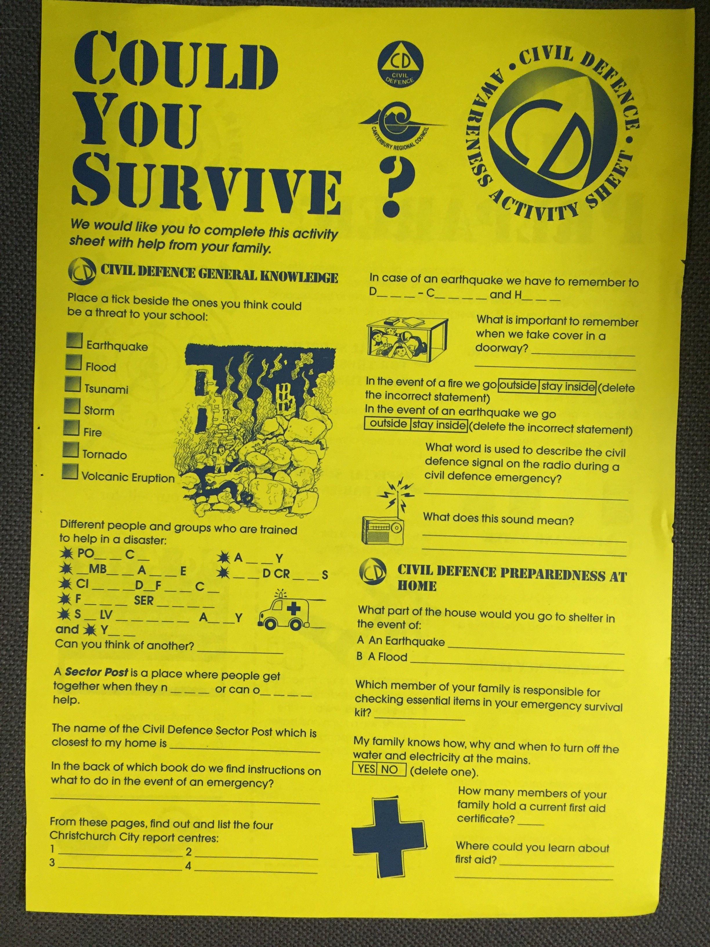 Could You Survive? worksheet | Old School Civil Defence ...