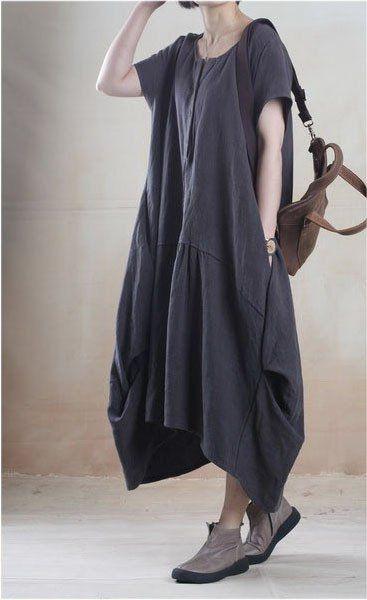 e1a9cc007d Linen Dress in Dark Gray