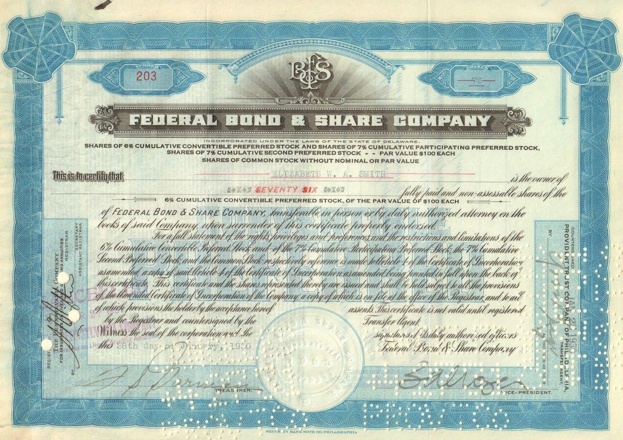 Federal Bond /& Share Company Stock Certificate