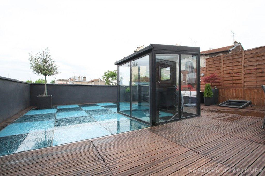 Paris maison loft avec toit terrasse dans ancien garage terrasses pinterest garage for Terrasse avec toit