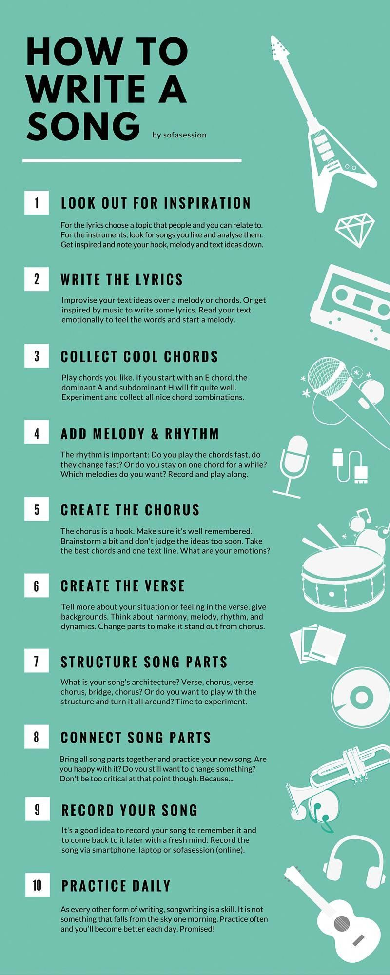 How to write a song in 10 steps as a beginner? The