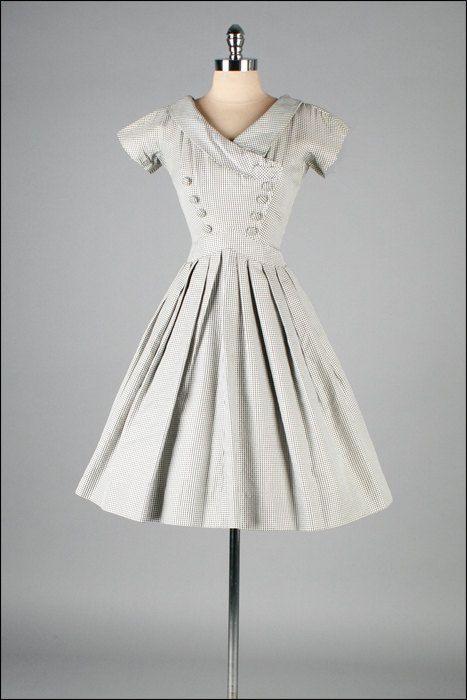 Jahrgang 1950 s Kleid. Schwarz weiß überprüft. Baumwolle. Suzy ...