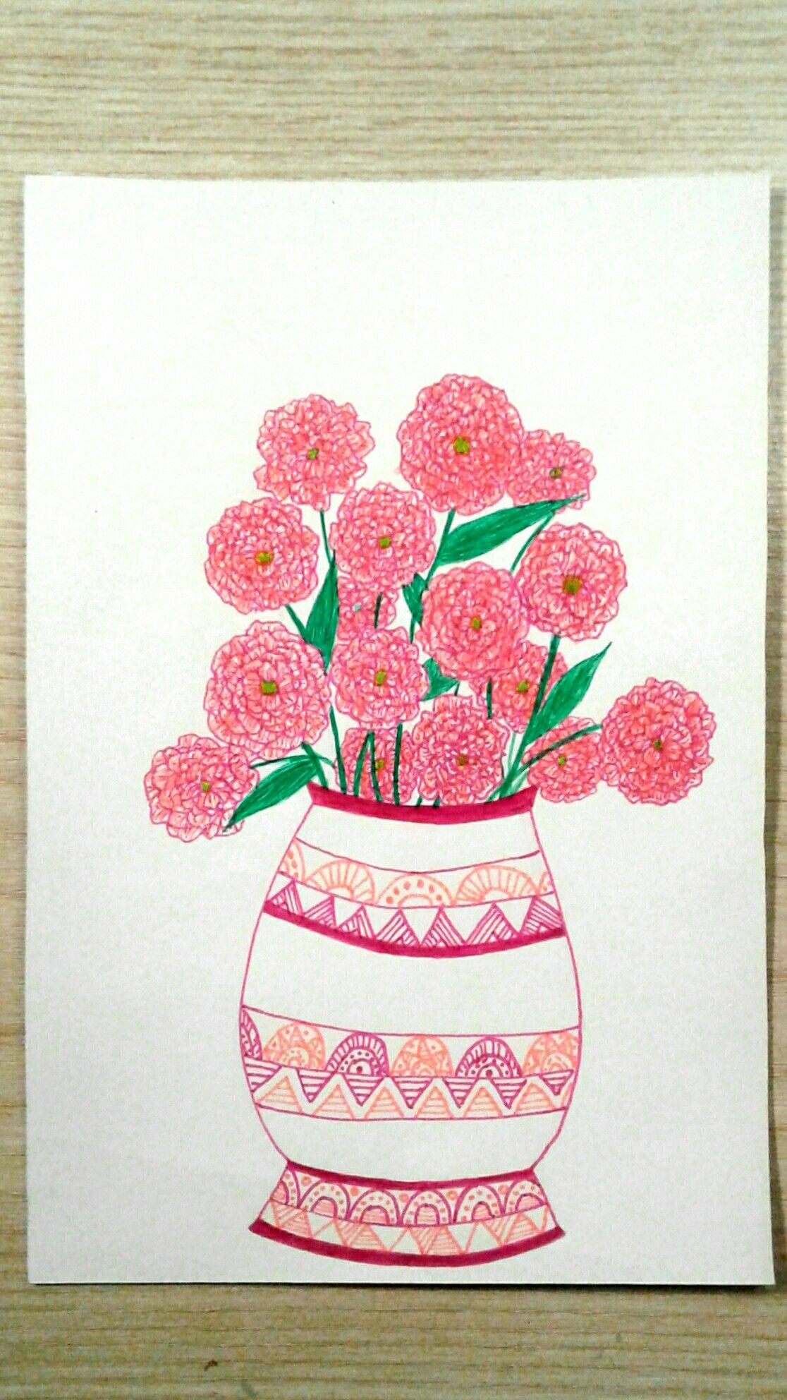 Hand Drawn Pink Flower Drawing Flower Vase Drawing Floral Art