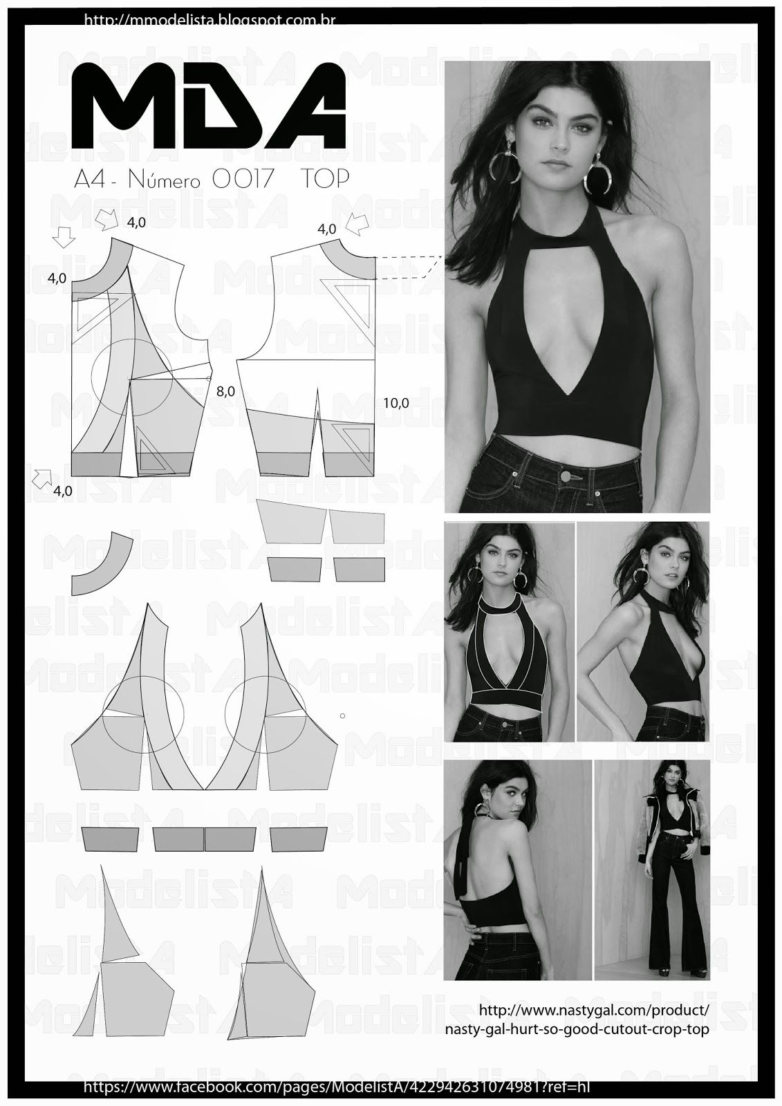 A4 - NUME 0017 - TOP | A4, Patterns and Sewing patterns