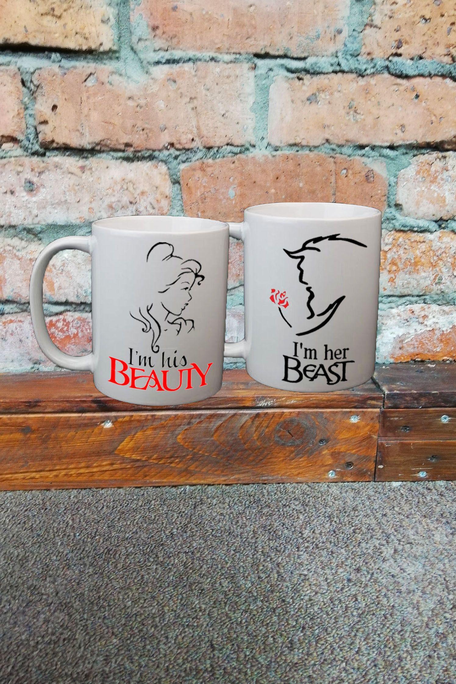 Her Beast His Beauty 11oz Mug Set Mugs, Couple mugs