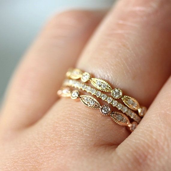 trend stacked wedding rings - Stacked Wedding Rings