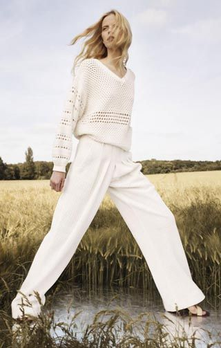 Chloe Look 21 - Cotton mesh & novelty patchwork sweater Meshed cotton pants