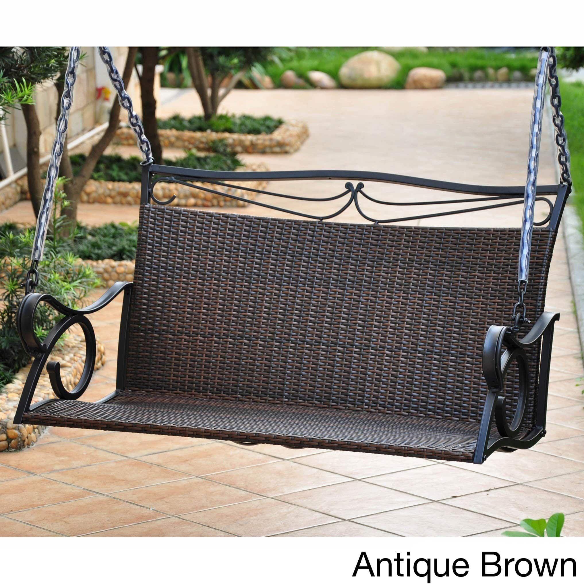 International caravan valencia resin wicker porch swing antique