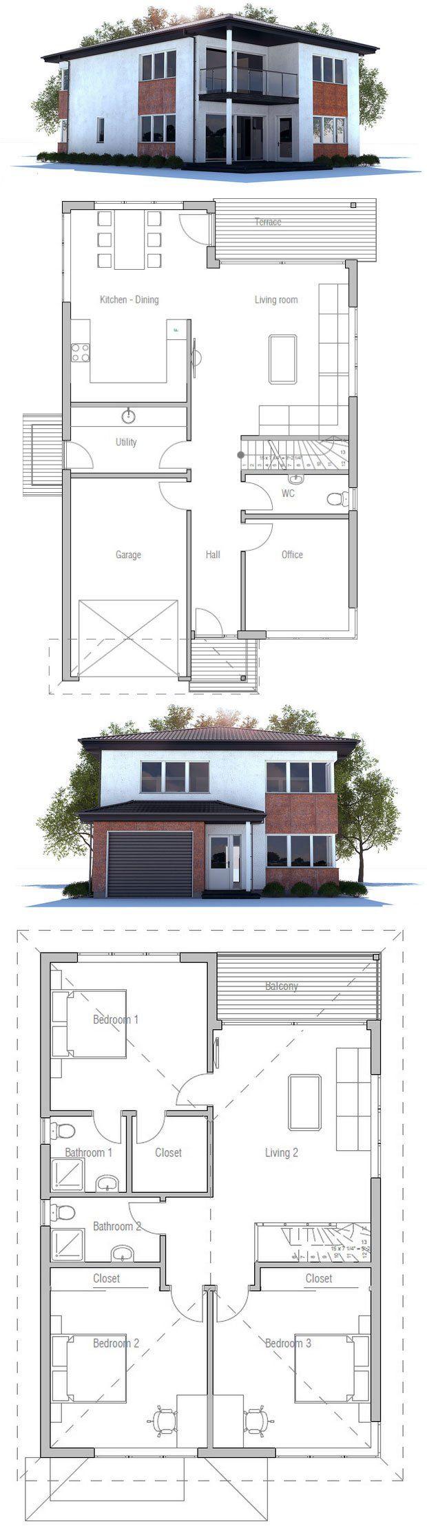 Narrow Lot Modern House Plan Floor Plan From Concepthome Com