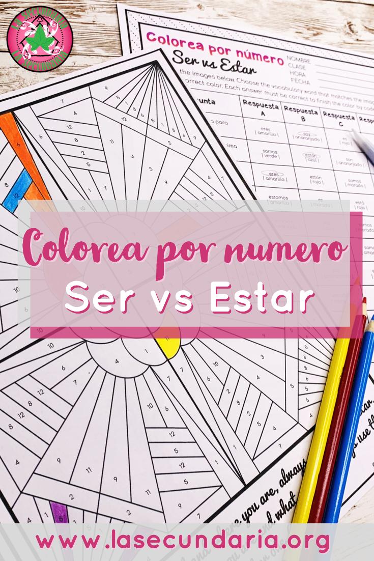 Ser vs Estar Activity Color by Number Colorea por