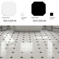 carrelage octogonal 30x30 blanc mat ou noir mat et cabochons boite de 1m as de carreaux. Black Bedroom Furniture Sets. Home Design Ideas