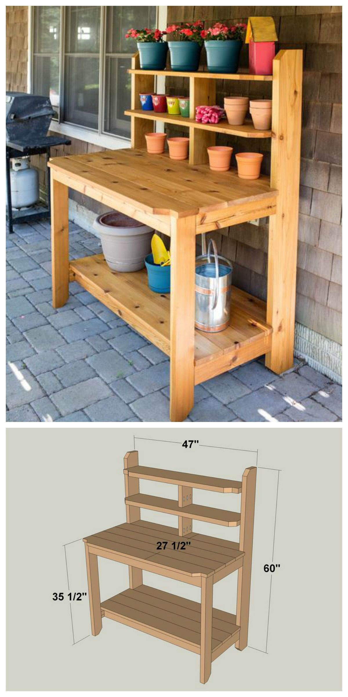 Diy how to build a shed bench free and gardens for Potting shed plans diy blueprints