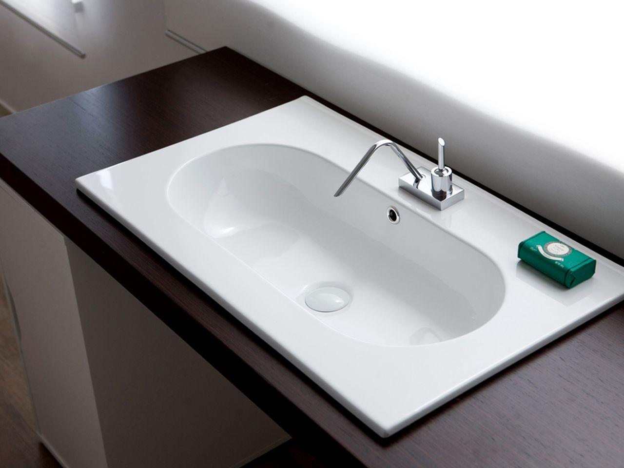 Mobile Bagno Lavandino Incasso lavabo bagno unitop frank consolle cm. 75x46 con foro