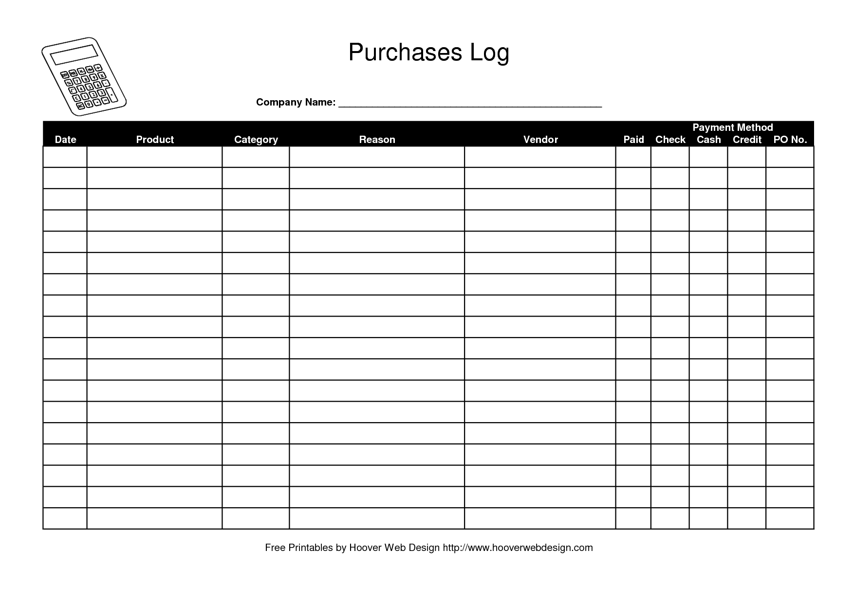 Logging Templates Free  Free Purchase Order Log Template  Work