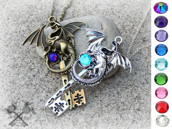Best Last Minute Wedding Gifts: Dragon Lovers Fantasy Key Necklace Set / Couples Necklace