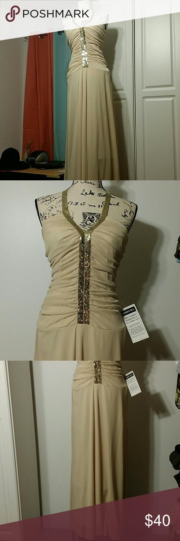 Long dress long dark cream dress with gold sequin trim studio