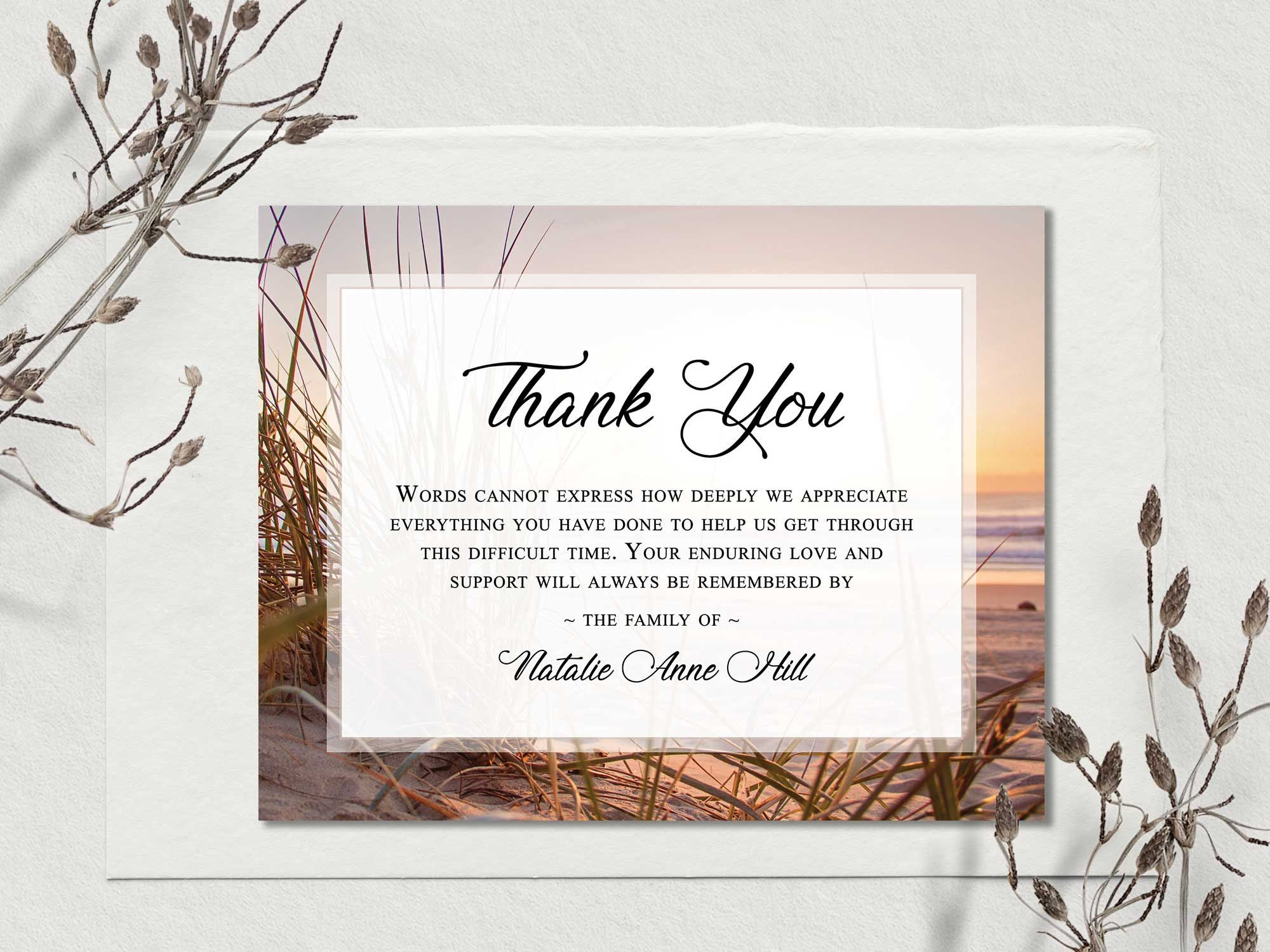 Funeral Thank You Cards Printable Funeral Thank You Notes Memorial Cards Sympathy A In 2020 Funeral Thank You Cards Funeral Thank You Notes Sympathy Thank You Cards