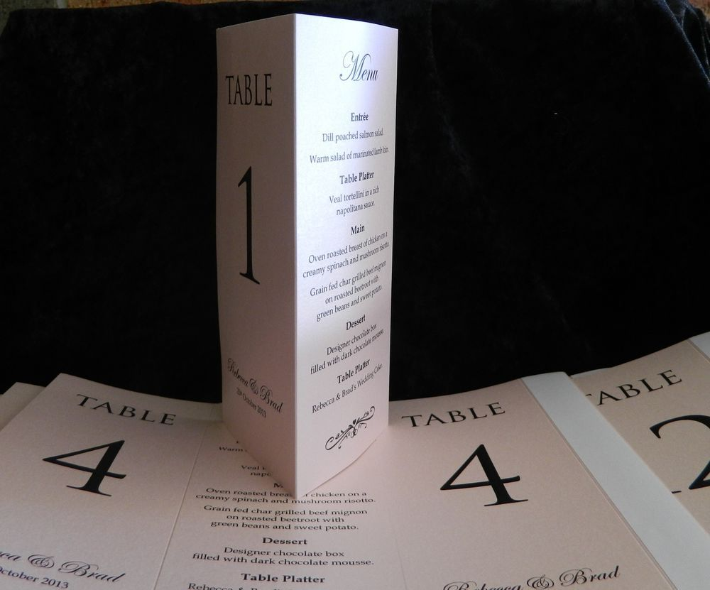 Table numbermenu cards three sided card table wedding
