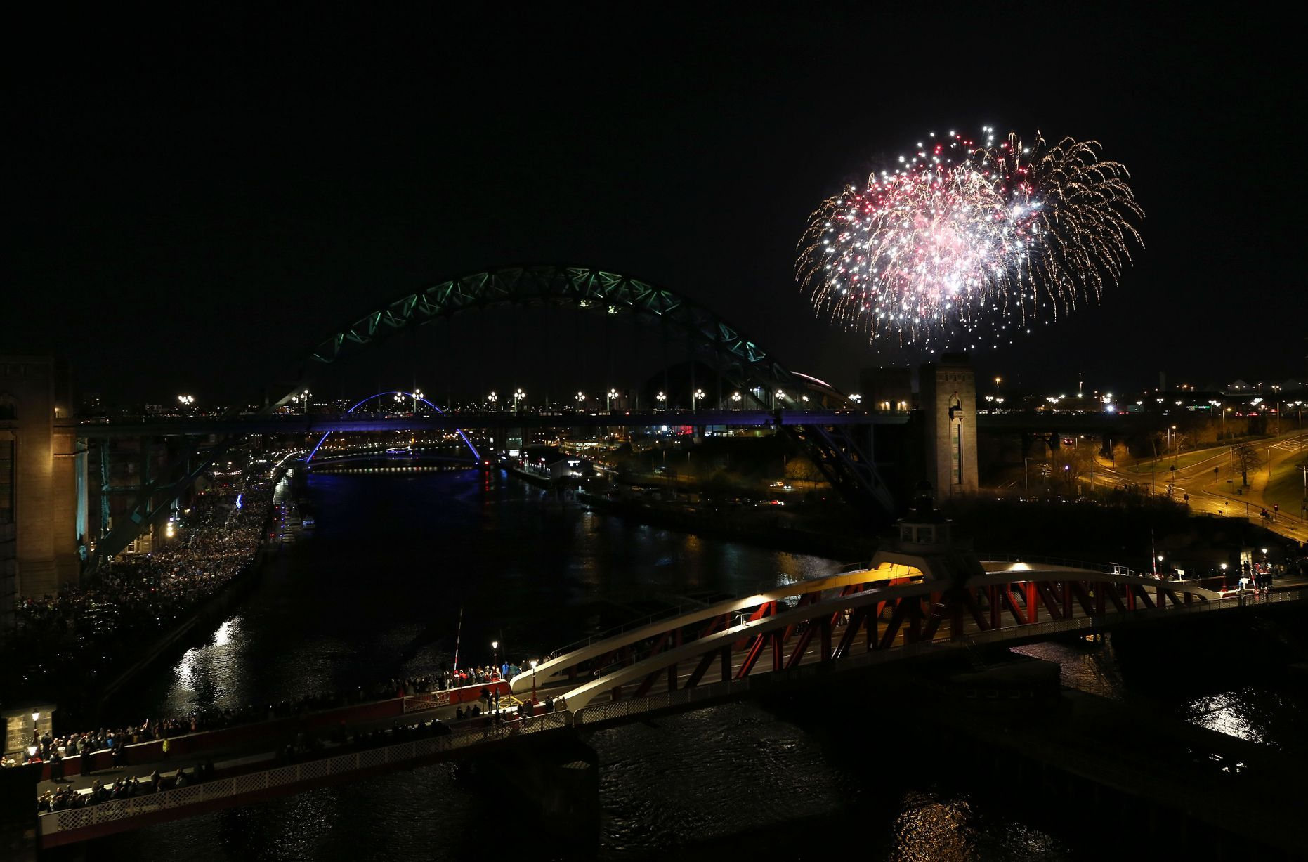 A firework display on Newcastle/Gatehead quayside to