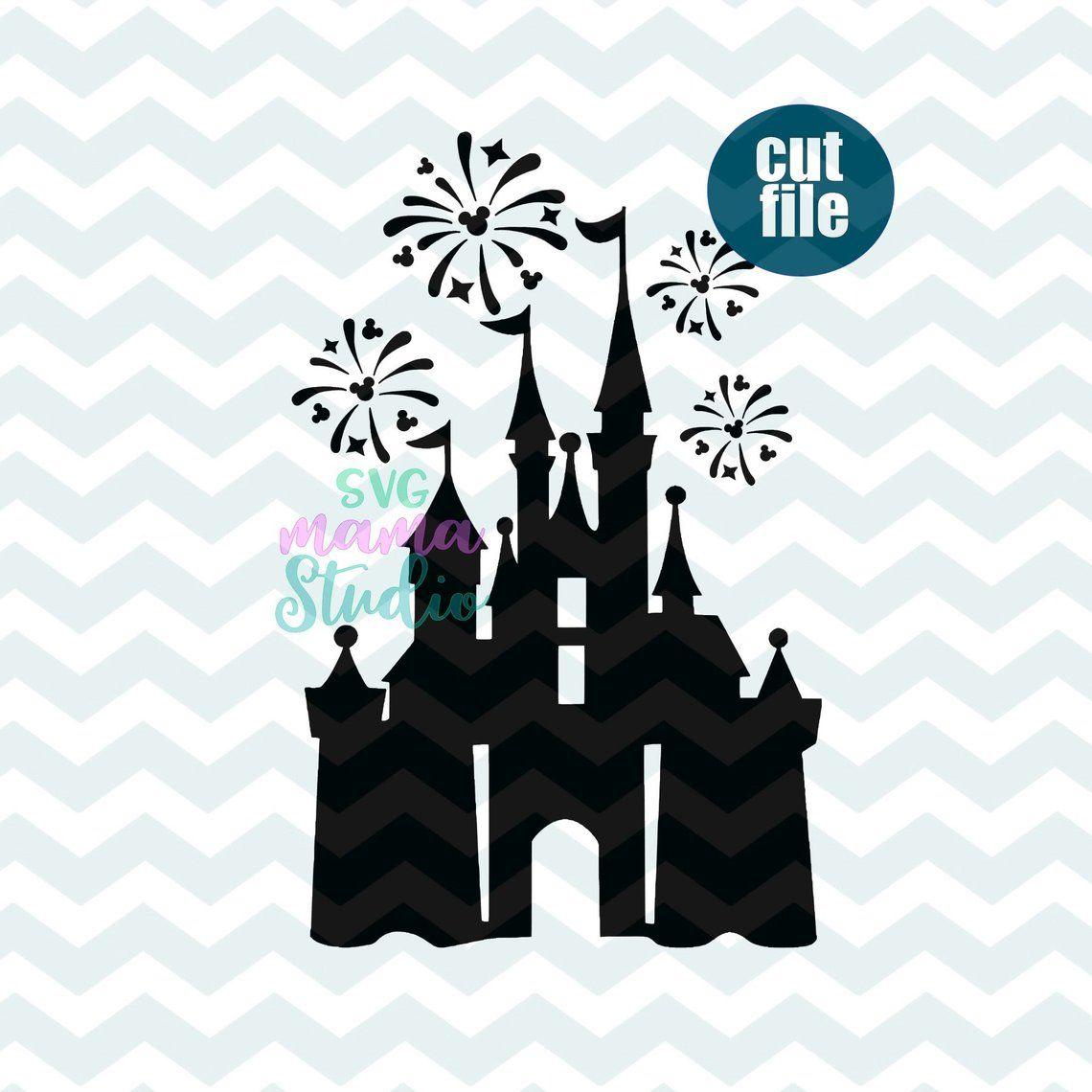 Disney Castle Fireworks svg, dxf, png file for cricut and