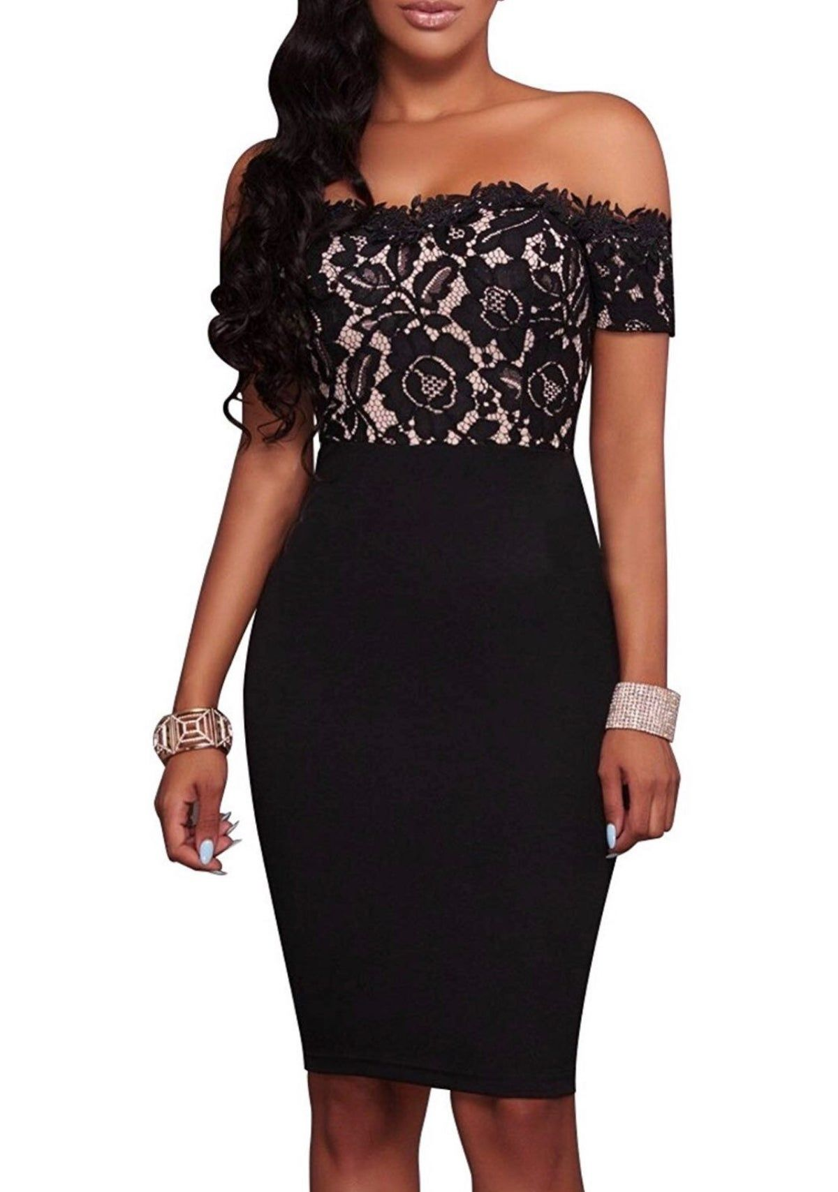 Plus Lace Off Shoulder Dress #silvesteroutfitdamen