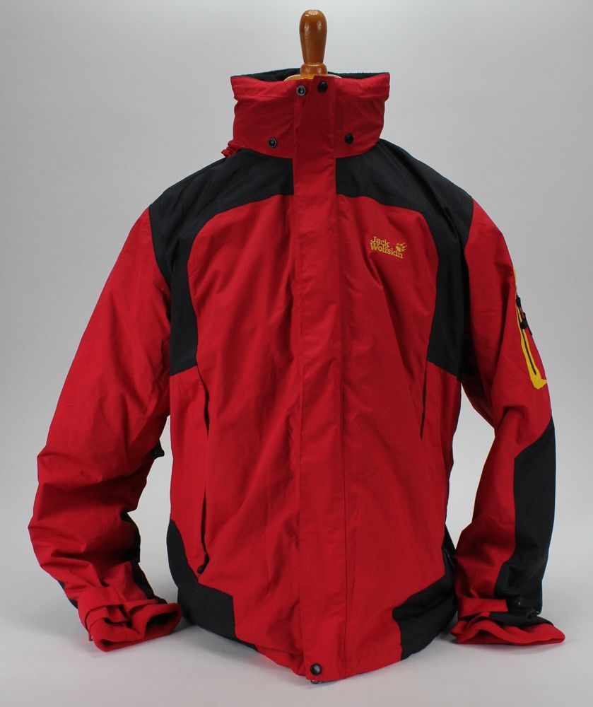 Details about jack wolfskin menus red black full zip hooded texapore