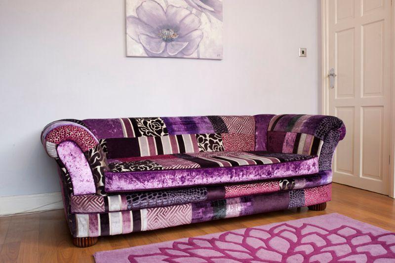 Patchwork Sofa  Purple Haze Cover Option #patchworksofa #patchwork #sofa
