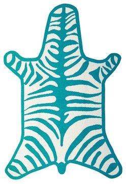 Jonathan Adler Zebra Turquoise Rug contemporary-kids-rugs