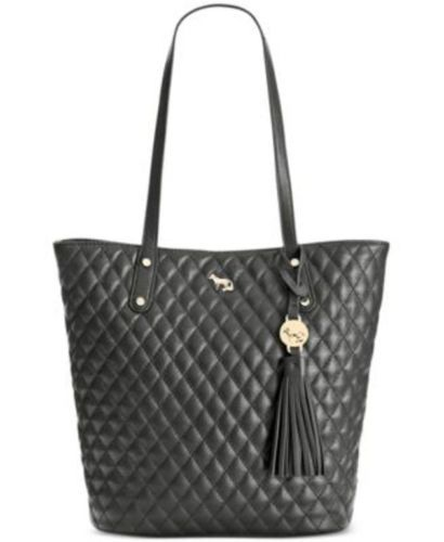 NEW-EMMA-FOX-248-BLACK-CASPIAN-QUILT-NORTH-SOUTH-LEATHER-TOTE-BAG