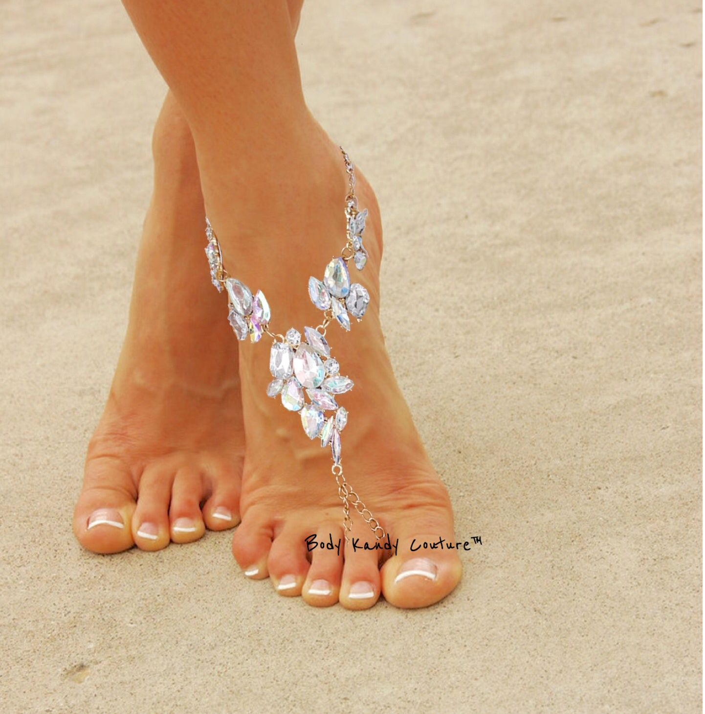 Barefoot Sandals Weddings Beach Bridal Foot Jewelry Beaded