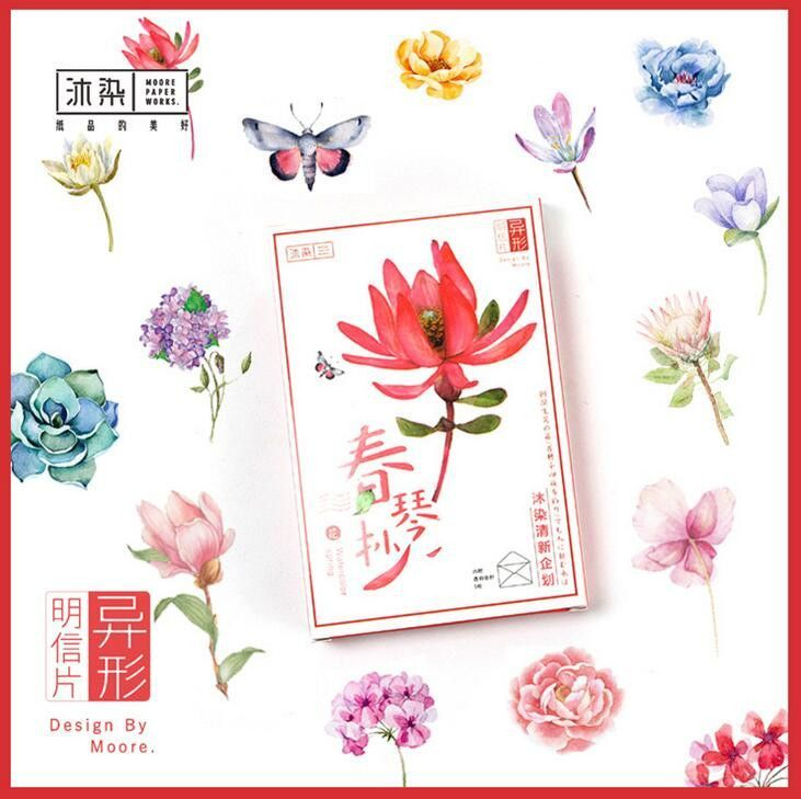 25 pcs/pack Flowers Full Bloom With 5 pcs Envelope Greeting Card Postcard Birthday Gift Card Set Message Card Letter Gift Card